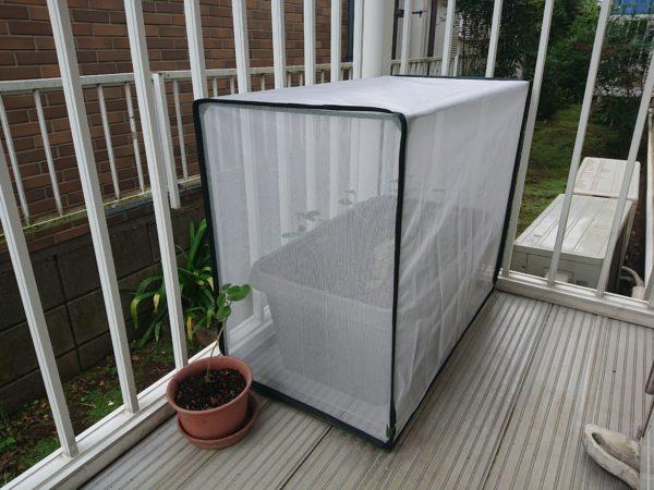 枝豆プランターを虫除けカバーで覆います
