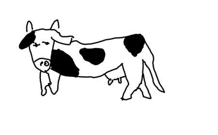 お絵かきアプリで描いた牛の絵